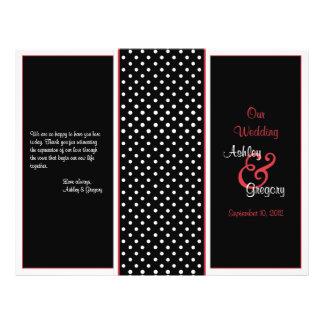 """Programa rojo, negro, y blanco del boda del lunar folleto 8.5"""" x 11"""""""