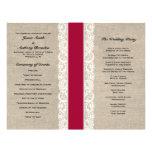 Programa rojo rústico del boda de la cinta del cor tarjetón