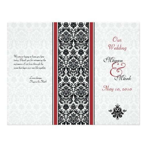 Programa rojo y negro del boda del damasco flyer personalizado