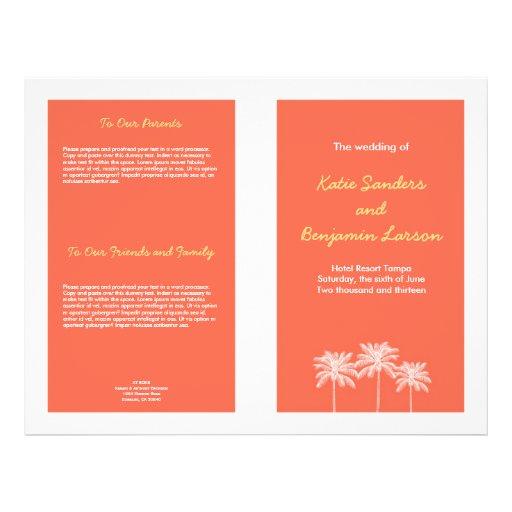 Programa rosado coralino del boda del verano de la flyer a todo color