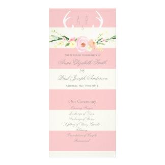 Programa rosado de las astas y beige floral de las tarjetas publicitarias personalizadas
