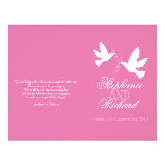 """Programa rosado del boda de la cinta de dos folleto 8.5"""" x 11"""""""