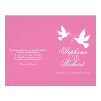 "Programa rosado del boda de la cinta de dos paloma folleto 8.5"" x 11"""