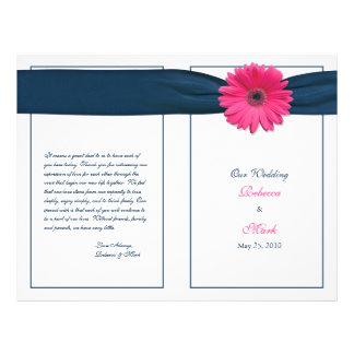 "Programa rosado del boda de la cinta de la marina folleto 8.5"" x 11"""