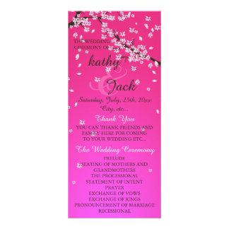 programa rosado del boda de la flor de cerezo lona personalizada
