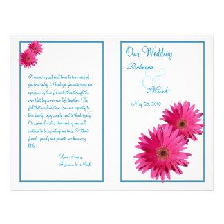 Programa rosado del boda de la margarita del Gerbe Tarjeton
