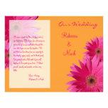 Programa rosado del boda de la margarita del Gerbe Flyer A Todo Color