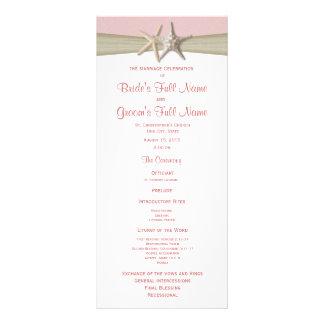 Programa rosado del boda de playa de las estrellas lona publicitaria