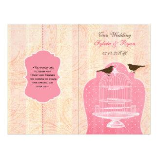 programa rosado del boda del doblez del BI del Tarjeta Publicitaria