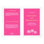 Programa rosado del boda del verano de las palmera tarjeton