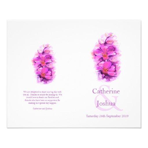 Programa rosado púrpura del boda de la acuarela de flyer a todo color