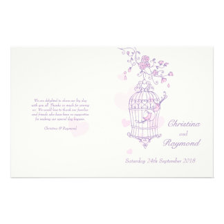 Programa rosado púrpura del boda de los pájaros de tarjeta publicitaria