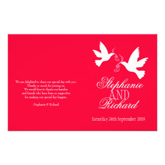 """Programa rosado rojo del boda de la cinta de dos folleto 5.5"""" x 8.5"""""""