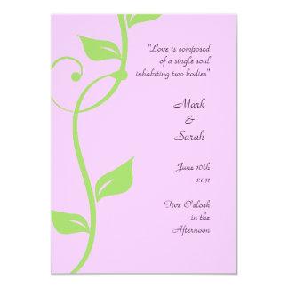 """Programa rosado suave del boda de la vid simple invitación 5"""" x 7"""""""