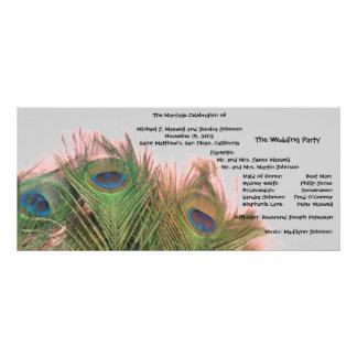 Programa rosado y gris del boda del pavo real lonas personalizadas