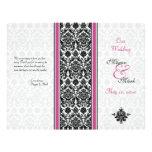Programa rosado y negro del boda del damasco tarjetones