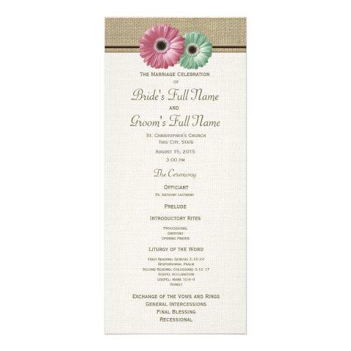 Programa rosado y verde del boda de la margarita d lonas personalizadas