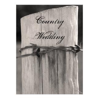 Programa rural del boda del país del poste de la c invitación