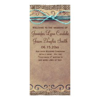 Programa rústico del boda de la arpillera del tarjetas publicitarias personalizadas