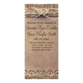 Programa rústico del boda de la arpillera del lona personalizada