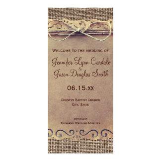 Programa rústico del boda de la arpillera del lona publicitaria