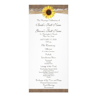 Programa rústico del boda de la arpillera y del gi lona
