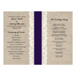 Programa rústico del boda de la cinta de la marina tarjetas informativas