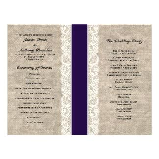 "Programa rústico del boda de la cinta de la marina folleto 8.5"" x 11"""