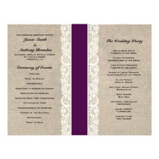 """Programa rústico del boda de la cinta del ciruelo folleto 8.5"""" x 11"""""""