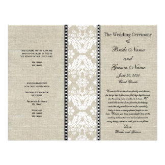 Programa rústico del boda del damasco de lino del  tarjeton