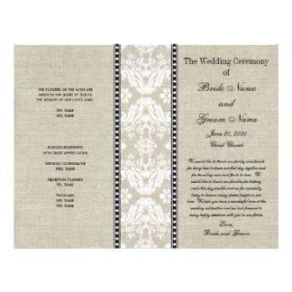"""Programa rústico del boda del damasco de lino del  folleto 8.5"""" x 11"""""""