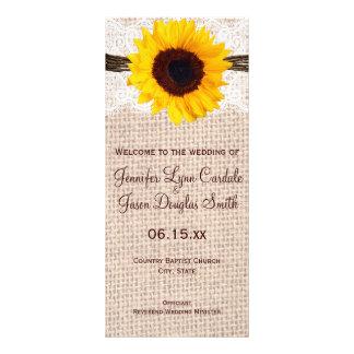Programa rústico del boda del girasol de la guita tarjetas publicitarias a todo color