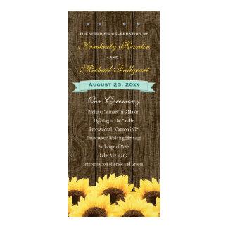 Programa rústico del boda del girasol de la tarjeta publicitaria a todo color