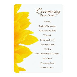 """Programa rústico del boda del girasol invitación 5"""" x 7"""""""