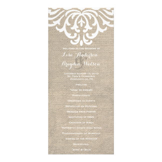 Programa rústico del boda del vintage del damasco tarjeta publicitaria personalizada