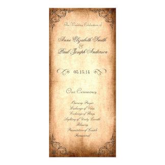 Programa rústico del boda del vintage lonas