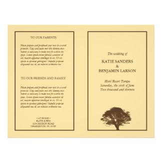 Programa simple del boda del roble eterno amarillo tarjetones
