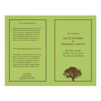 Programa simple del boda del roble eterno verde tarjetas informativas