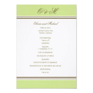 """Programa simple del boda del verde de la primavera invitación 5"""" x 7"""""""