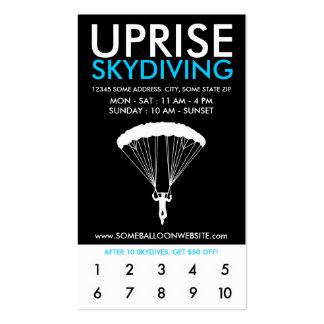 programa skydiving de las recompensas del tarjetas de visita
