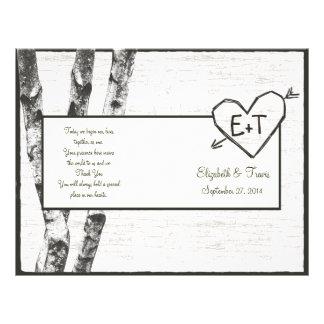 Programa tallado del boda del árbol de abedul tarjetas publicitarias