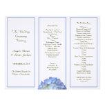 Programa triple, azul del boda del Hydrangea Membretes Personalizados