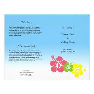 """Programa tropical del boda de la flor hawaiana del folleto 8.5"""" x 11"""""""