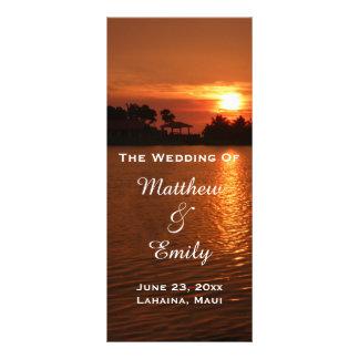Programa tropical del boda de la puesta del sol de tarjeta publicitaria