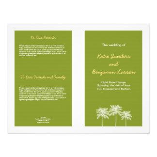 """Programa verde del boda del verano de las palmeras folleto 8.5"""" x 11"""""""