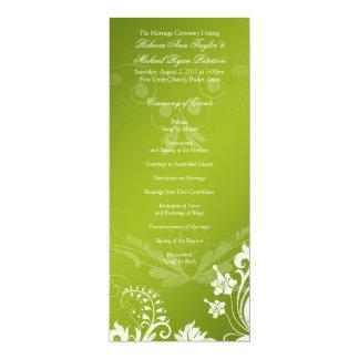 Programa verde del vintage y blanco floral del invitación 10,1 x 23,5 cm