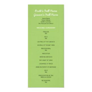 """Programa verde pintado del boda de los puntos invitación 4"""" x 9.25"""""""