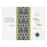 Programa verde y negro del boda del damasco flyer personalizado