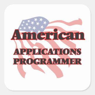Programador americano de los usos pegatina cuadrada