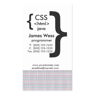 Programador del Web del HTML CSS de Java Tarjetas De Visita